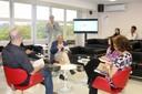 Martin Grossmann introducing the exhibitors Álvaro de Campos, Larissa Leite, Sylvia Dantas, João Alberto Alves Amorim and Geraldo de Campos