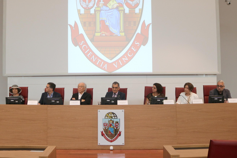 Helena Katz, Eduardo Saron, Ricardo Ohtake, Vahan Agopyan, elaina Sousa Silva, Maria Alice Setubal and Paulo Saldiva