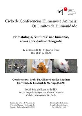 """Cartaz - Primatologia, """"culturas"""" não humanas, novas alteridades e etnografia"""