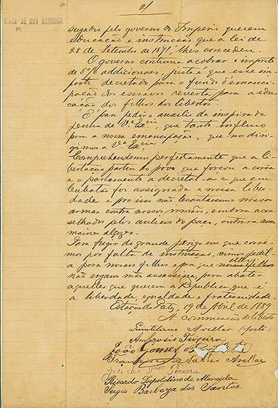 Carta da Comissão de Libertos a Rui Barbosa