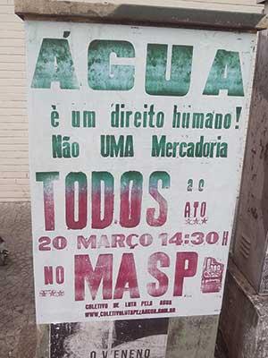 Cartaz de manifestação por direito à água