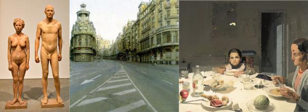 """""""Homem e Mulher"""", """"Grande Avenida"""" e """"O Jantar"""", obras de Antonio López"""