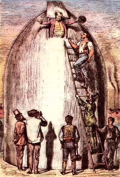 """Ilustração de Henri de Montaut para """"Da Terra à Lua"""" - 1972"""