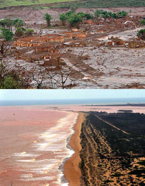 Lama em Bento Rodrigues e no litoral do Espírito Santo