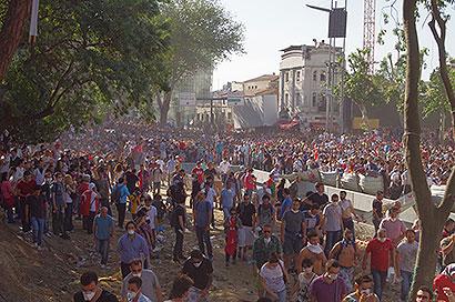 Manifestantes no Parque Gezi, Istambul, Turquia