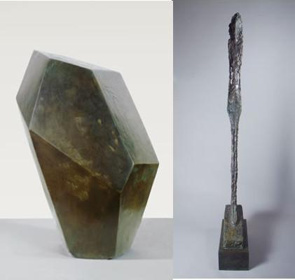 """""""O Cubo"""" e """"Mulher Leoni"""", obras de Alberto Giacometti"""