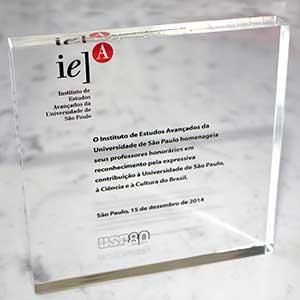 Placa em homenagem aos professores visitantes do IEA