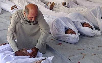Prováveis vítimas de arma químico em Douma, Síria