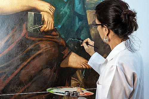 """Restauração da obra """"Alegoria às Artes"""", de Léon Pallière - MNBA"""