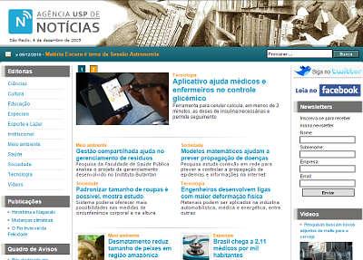 Site da Agência USP de Notícias
