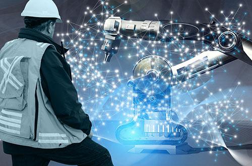 Trabalhador e robô