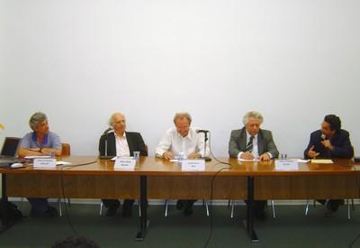 Arnaldo Mandel, Imre Simon, Jacob Palis, João Steiner e Nílson José Machado