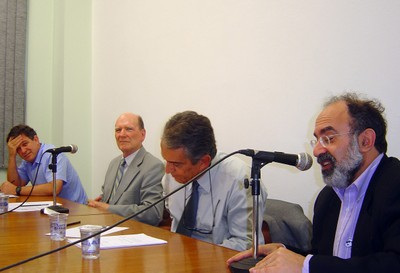 Fernando Reinach, Gerhard Malnic, Jacques Velloso e Guilherme Ary Plonski