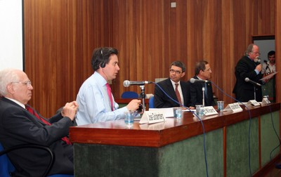 José Goldemberg, Ed Miliband, Alan Charlton, Luiz Fernando Furlan e Jacques Marcovitch