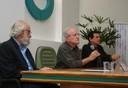 César Ades abre o evento ao lado de Roberto Lent e Luiz Roberto Giorgetti de Brito