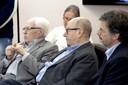 a partir da esquerda José Goldemberg, José Arthur Giannotti e Carlos Henrique de Brito Cruz