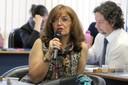 Libia Patricia Agudelo faz perguntas aos expositores - 25/04/2017