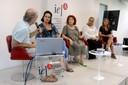 Martin Grossmann apresenta as expositoras: Valéria de Mendonça, Eugênia Gorini Esmeraldo, Ana Helena Curti e Vitória Arruda