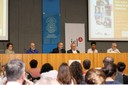 Mesa de abertura do evento: Bernardete Gatti, Guilherme Ary Plonski, Nílson José Machado, Lino de Macedo, Juliana Souza Mavoungou Yad e Luiz Carlos de Menezes