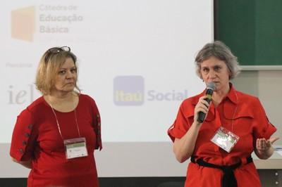"Claudia Petri e Helena Singer, coordenadoras do Grupo Temático ""Escola desenvolvimento de interesses"""