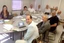 A partir da esquerda, Fátima Moreno, Regina P. Markus, Hamilton Varela, Rafael Borsanelli, Martin Grossmann, João Cyro André, Guilherme Ary Plonski, Paulo Saldiva, Alfredo Bosi e Eugênio Bucci