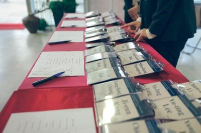 Credenciamento na entrada do Liang Kuo Shu International Conference Hall
