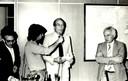 Alfredo Bosi, Marcelo Bitencourt entrevistando Gerhard Malnic e José Goldemberg no lançamento do v1 n1 da Revista Estudos Avançados