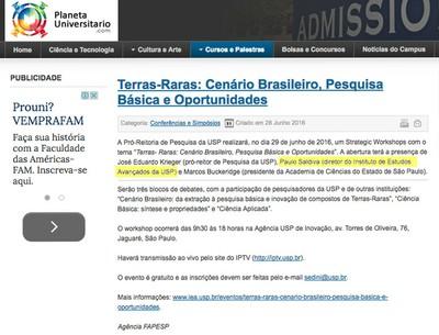 Workshop Terras-Raras: Cenário Brasileiro, Pesquisa Básica e Oportunidades