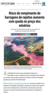 Risco de rompimento de barragens de rejeitos aumenta com queda no preço dos minérios - pág-1