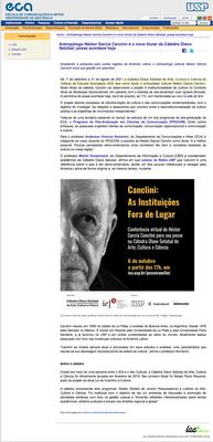 Posse de Néstor Canclini na Cátedra Olavo Setúbal de Arte, Cultura e Ciência